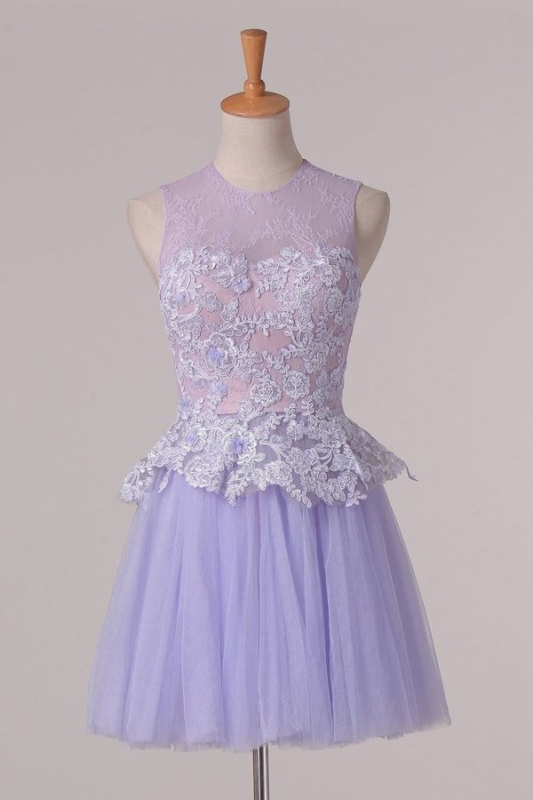 Homecoming Dresses A Line Scoop With Applique Tulle & Lace PHHK7ZZK