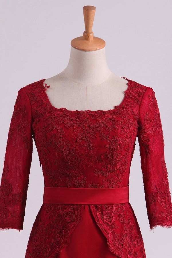 Burgundy Mother Of The Bride Dresses Square 3/4 Length Sleeve With Applique PERR18SA