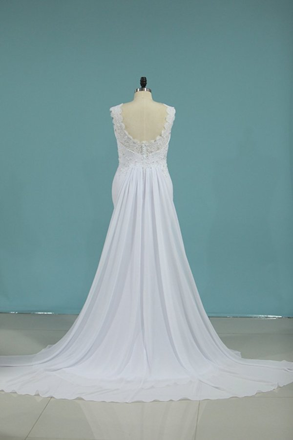 A Line Scoop Chiffon With Applique Wedding Dresses PNH2NFSD