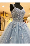 Ball Gown Straps Long Prom Dress Appliques Quinceanera STGPKS9FELB