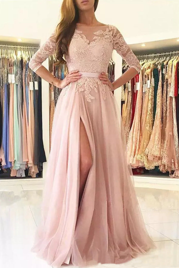 A Line Scoop 3/4 Length Sleeves Tulle With Applique Prom Dresses PZLYSQT2