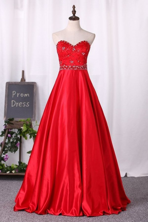 2020 Sweetheart Prom Dress A-Line Lace Bodice With Satin PZPE3GZY