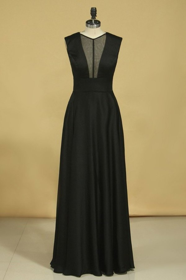 A Line V Neck Floor Length Prom Dresses P1DTDJ1A