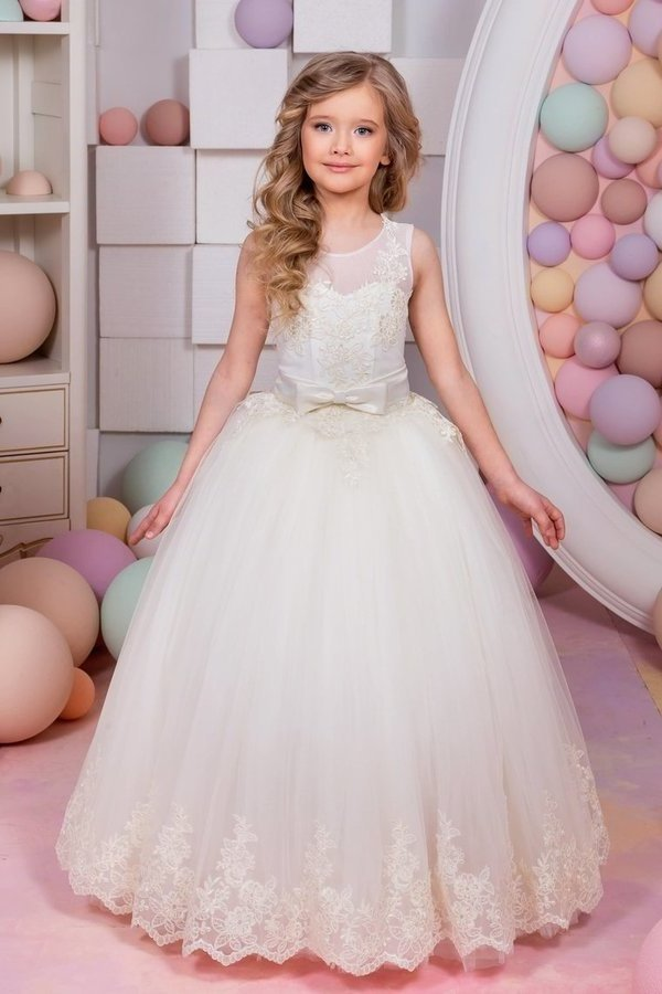 Ball Gown Flower Girl Dresses Scoop Tulle With Applique PB6L6PSK
