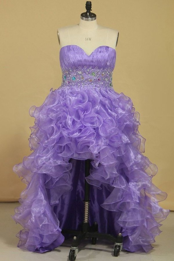Asymmetrical Prom Dresses Sweetheart Organza With Beads And Ruffles A PD3HD5ZN