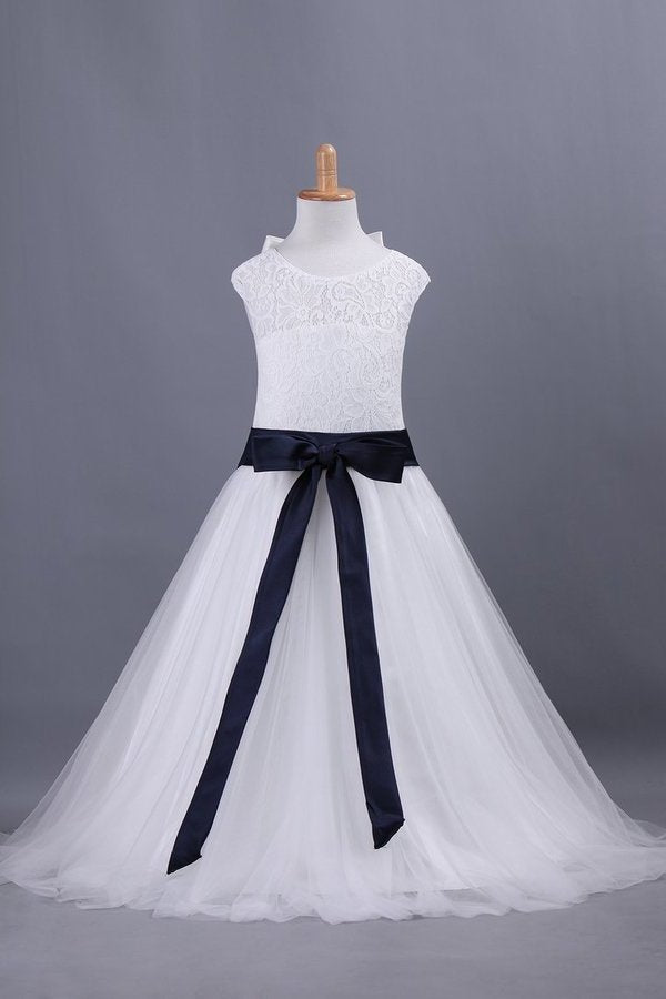 Flower Girl Dresses A Line Scoop Ankle-Length Lace & PN9QEFPJ