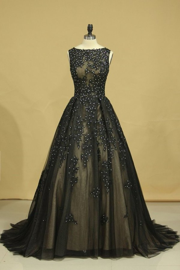 2020 Black Sexy Bateau A-Line Prom Gown Sweep Train With Beads & PKMSYSAJ