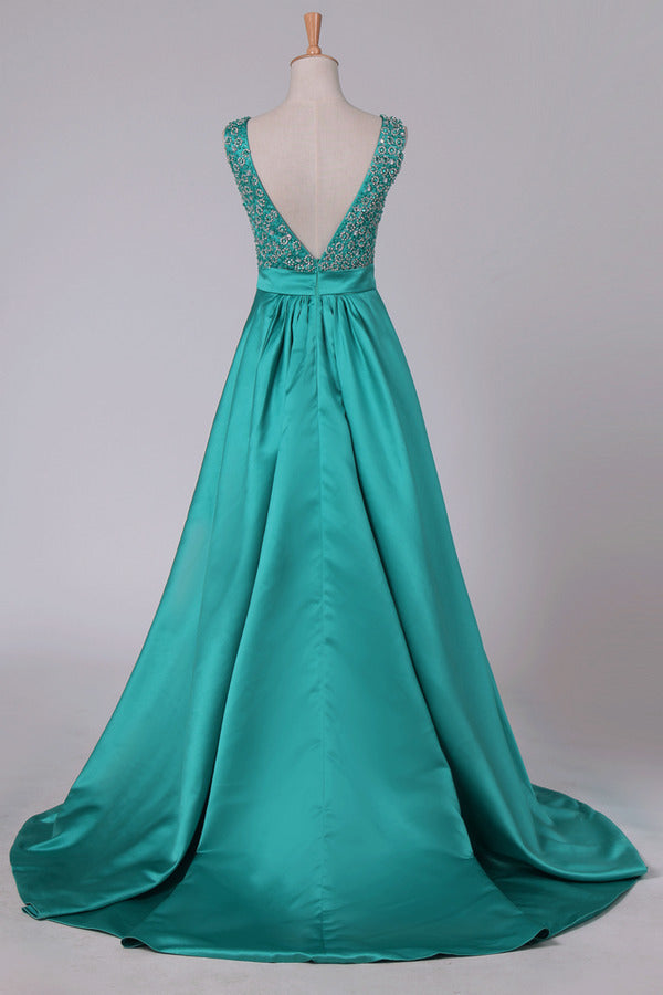 Sweep Train A Line Prom Dresses V Neck Satin PX4G3QTS