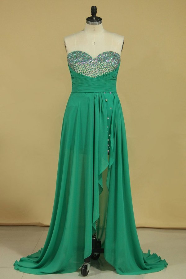 Plus Size Terrific Prom Dresses Sweetheart High Low Skirt Rhinestone PZASBKZN