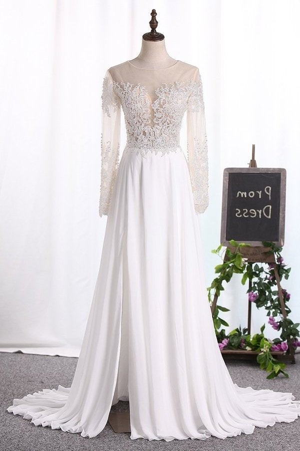 2020 Bateau Wedding Dresses Long Sleeves A Line Chiffon With Applique PC6XX18F