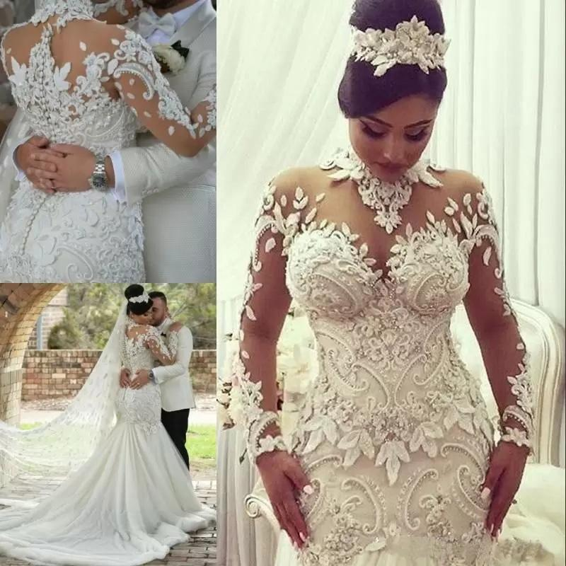Luxury Crystal Beaded Appliques Mermaid High Neck Long Sleeves Wedding Gowns