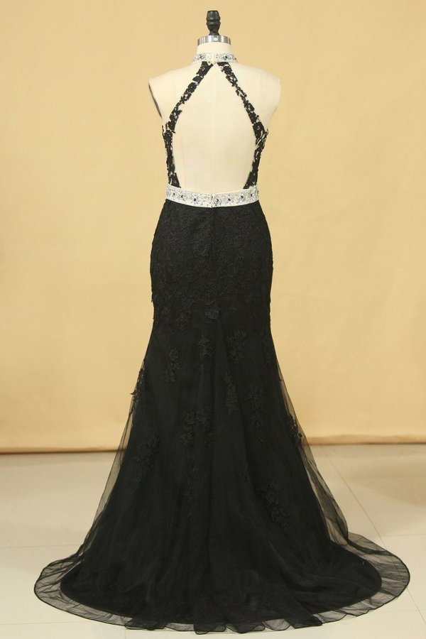 Black Plus Size Prom Dresses Mermaid High Neck Open Back Tulle With Applique & PT9X5LZC