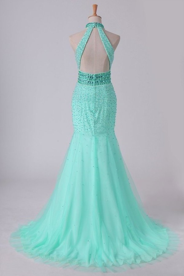 High Neck Mermaid Prom Dresses Beaded Bodice Open Back P29N5PLS