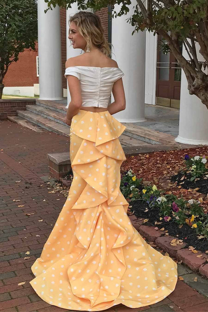 Two Piece Off-the-Shoulder White and Yellow Zipper V-Neck Mermaid Long Prom Dresses
