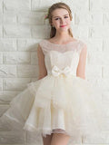 Scoop Neck Lace Tulle Bowknot Organza Lace up Short Prom Dress Homecoming Dresses