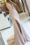 Sheath V Neck Pearl Pink Backless Beads Slit Satin Mermaid Sleeveless Prom Dresses