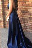 Simple Dark Navy Deep V-neck Split Long Prom Evening Gowns with Train Prom Dresses