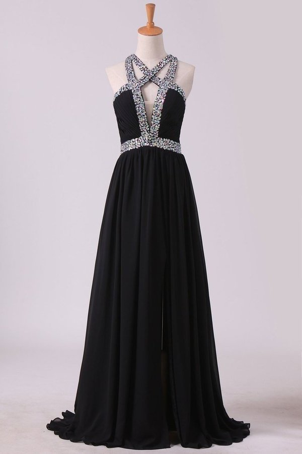 2020 Black Prom Dresses A Line Chiffon With Beads And Slit Cross PAX85XMY
