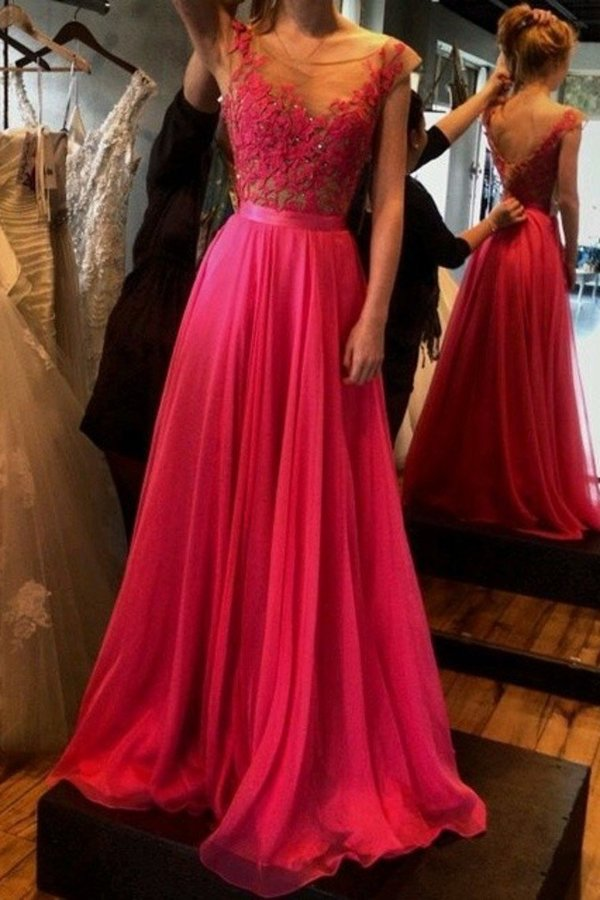 2020 Chiffon Prom Dresses Cap Sleeves A-Line Lace Up P3BG1ALZ