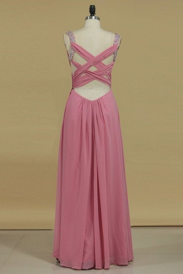 Cross Back Straps A Line Prom Dresses With Beads Chiffon Floor P38BDPPQ
