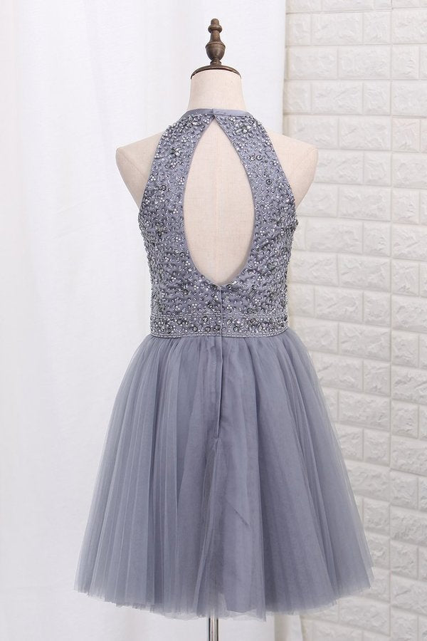 2020 A Line Homecoming Dresses Halter Tulle Beaded P1H6HSPF