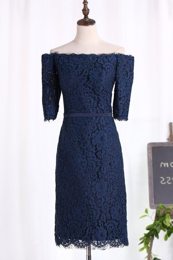 Boat Neck Lace Bridesmaid Dresses Sheath PSYJ7MS1