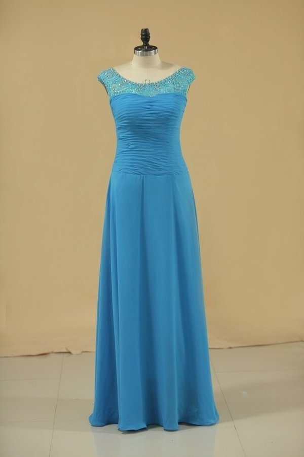 Chiffon Mother Of The Bride Dresses A Line Scoop With Ruffles Floor PRZDS9HD