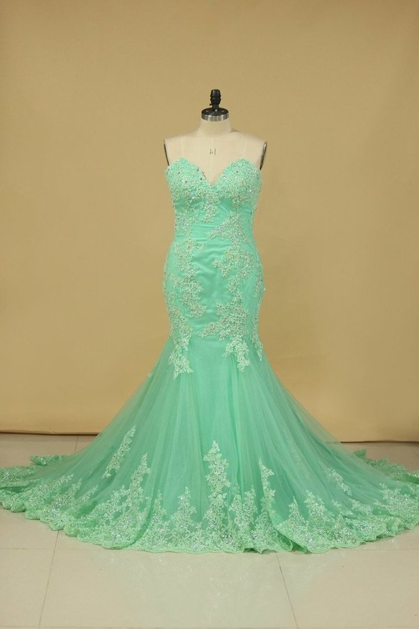 Evening Dresses Mermaid Sweetheart With Applique And Beads Sweep PHJ6TTG7