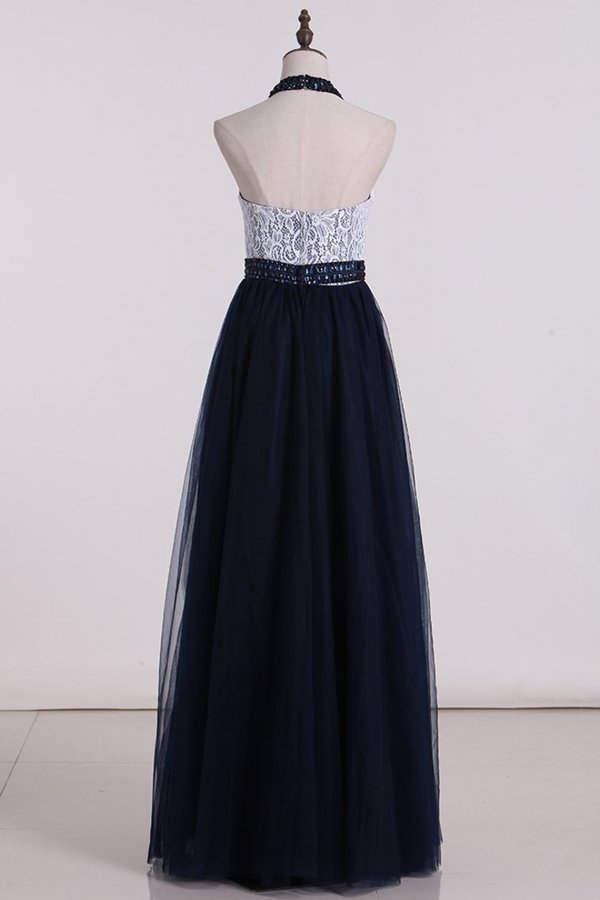 Halter With Beading A Line Prom Dresses Tulle & Lace PR1JJ5RL