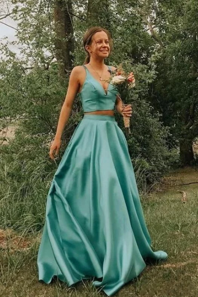 Simple A Line Two Pieces V Neck Satin Prom Dresses Cheap Formal STGPQ87T2TL