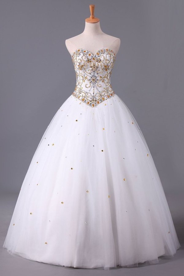 Charming Quinceanera Dresses Sweetheart A Line Floor Length With Beads P55Z71MA