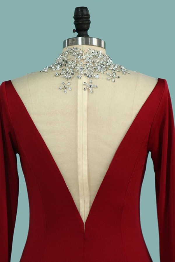 High Neck Long Sleeves Spandex With Beading Mother Of The P8LNE5NQ