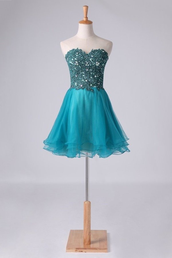 Homecoming Dress Sweetheart A Line With Applique And P2RDS4XB