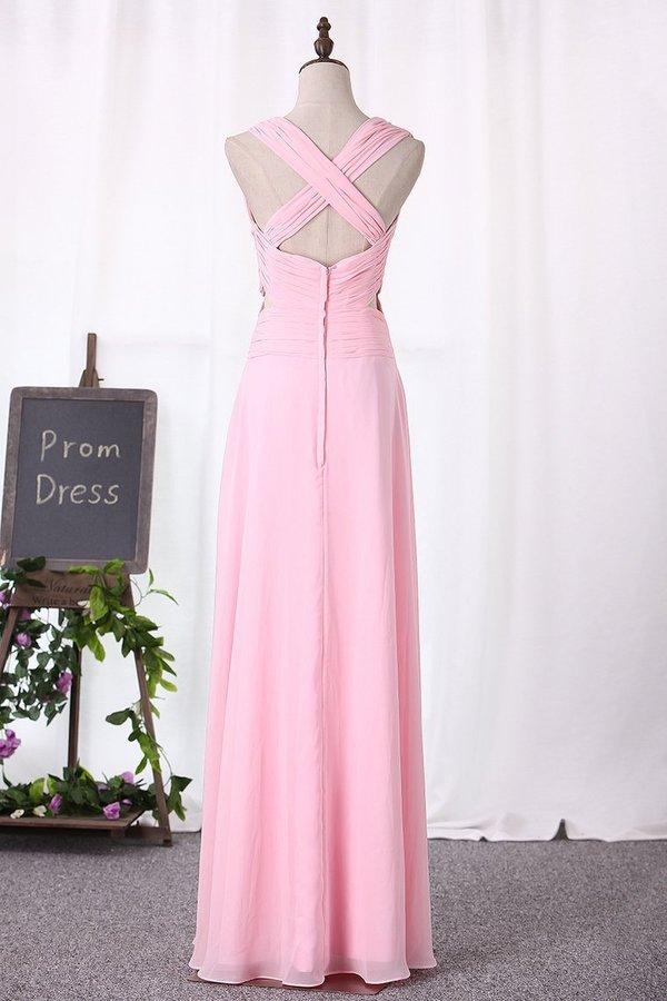 Chiffon Bridesmaid Dresses A Line V Neck Ruched Bodice PQKEJCTC