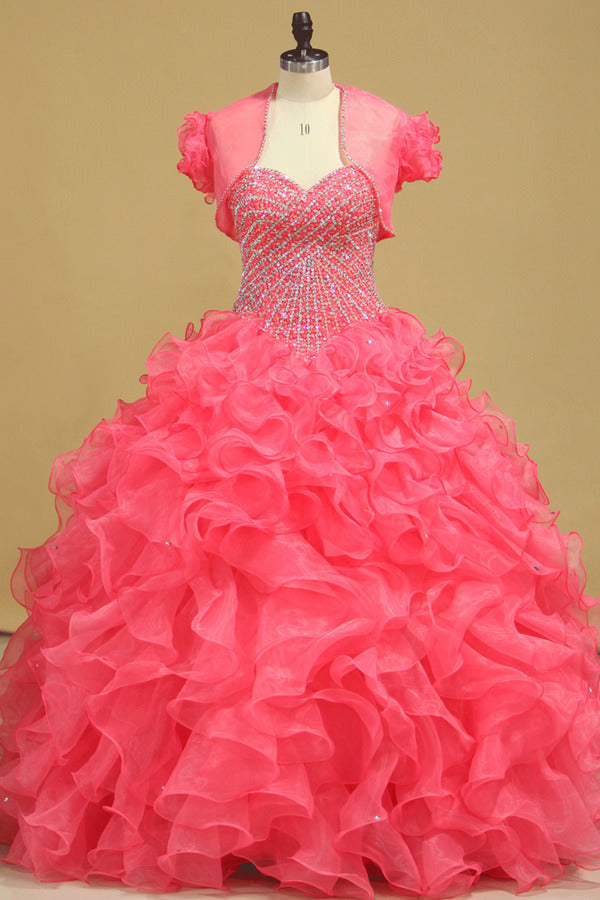 Beautiful Quinceanera Beaded Bodice Sweetheart Floor Length Ruffle Skirt P9PMMZB9