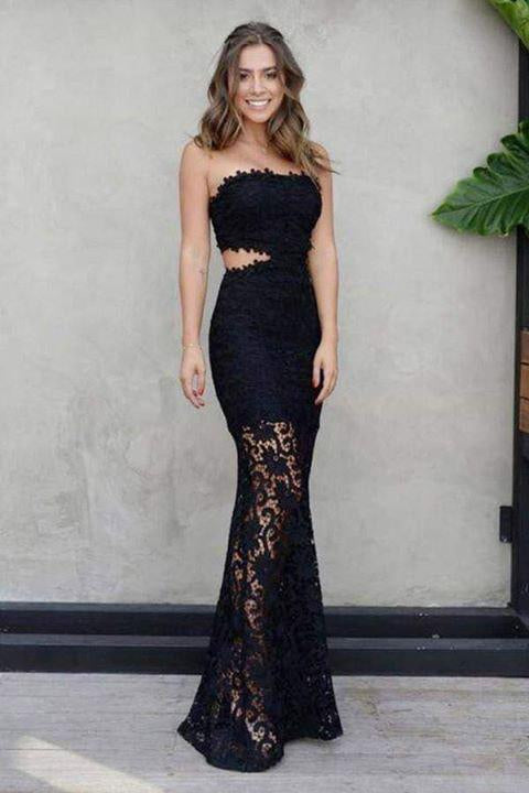Sexy Mermaid Strapless Floor-Length Black Lace Cut Out Sleeveless Prom Dresses