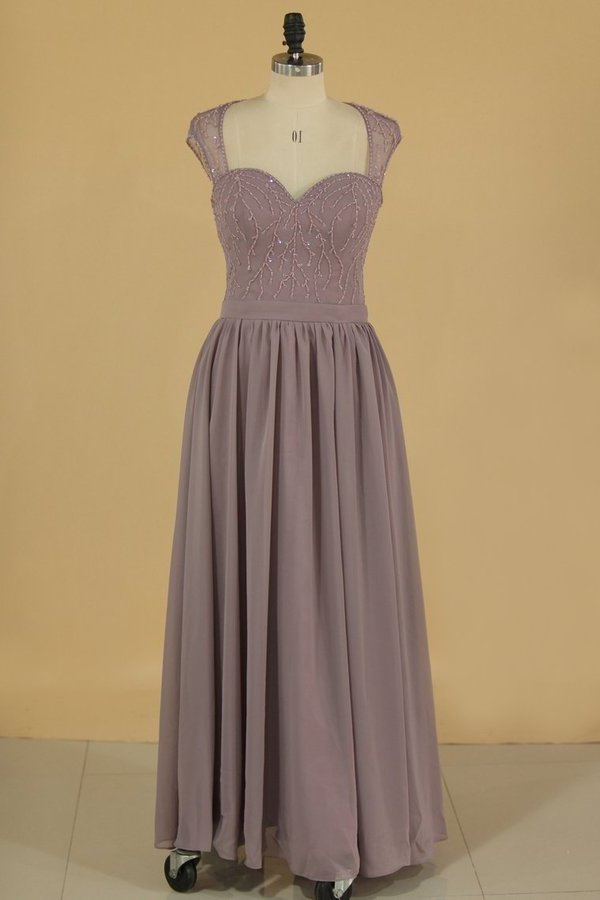 2020 Straps A Line Bridesmaid Dresses Chiffon With Beads P9DXZ1M3