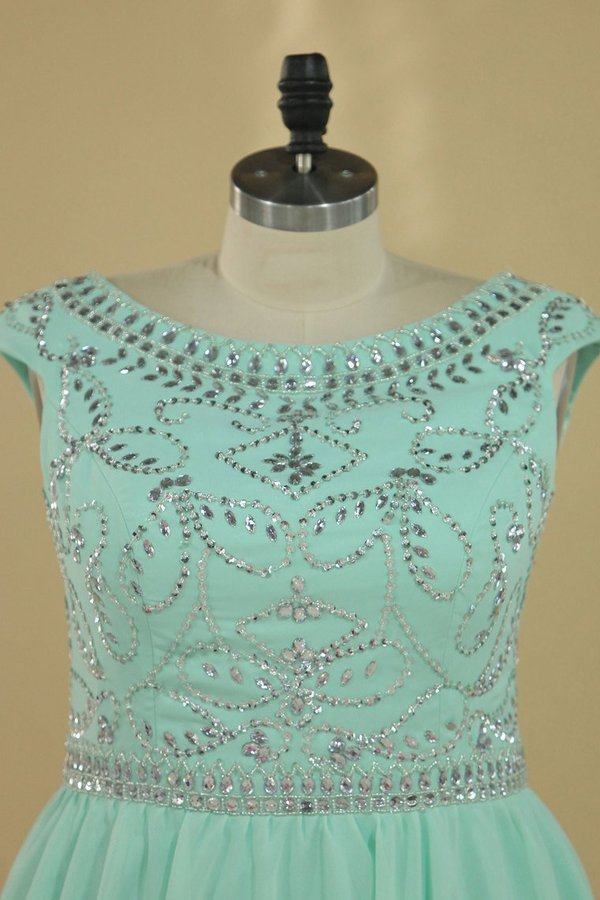 Homecoming Dresses Scoop Cap Sleeves Beaded Bodice A Line PTQ3XP69