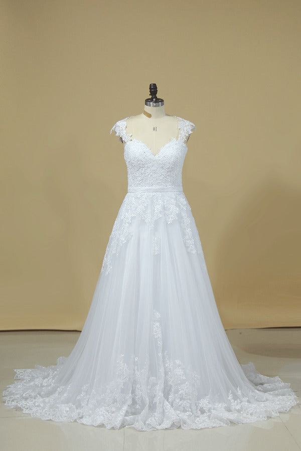 2020 A Line Off The Shoulder Tulle With Applique And Sash Wedding PQ7NCZEH