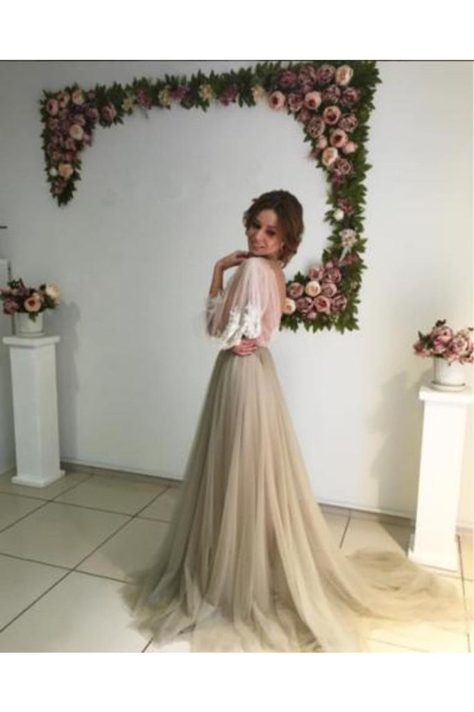 Long Puff Sleeves Prom Dresses Appliques See Through Evening Prom STGP2HJK88Z