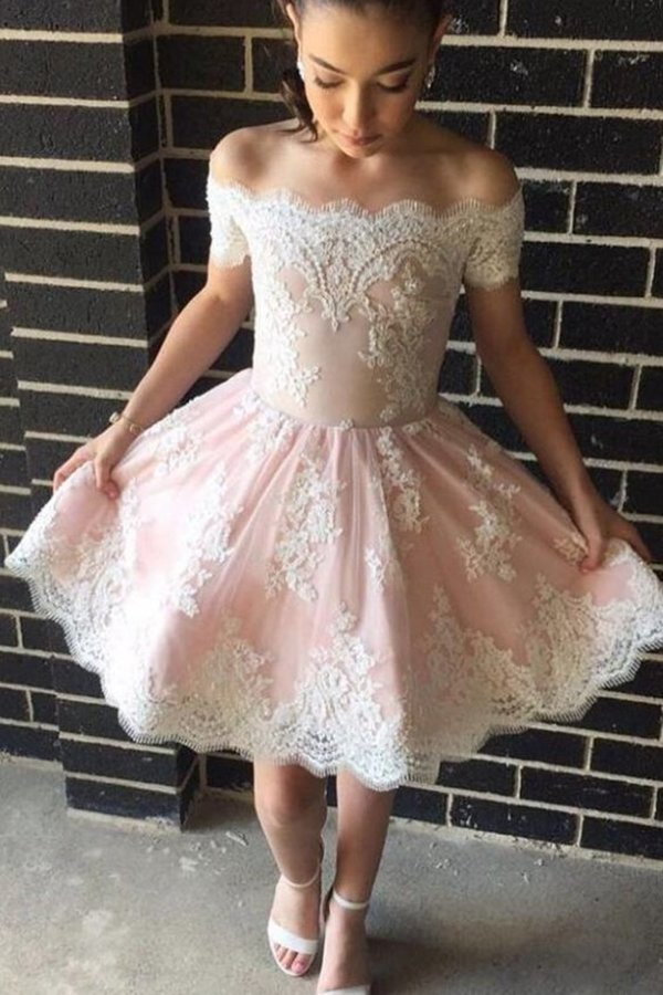 Homecoming Dresses Boat Neck Tulle With Applique Short/Mini PF2HK4KM