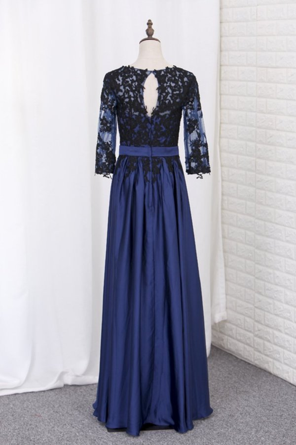 2020 A Line Prom Dresses 3/4 Length Sleeves Scoop Chiffon With Black Applique P8487QQH