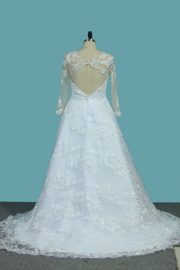 2020 A Line Tulle Long Sleeves Scoop Wedding Dresses With Applique P32E6LFX