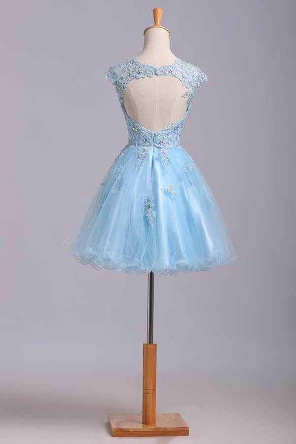 2020 Scoop Short/Mini Prom Dress A Line Tulle Skirt Embellished Bodice With Beads And Applique PSSPT98K