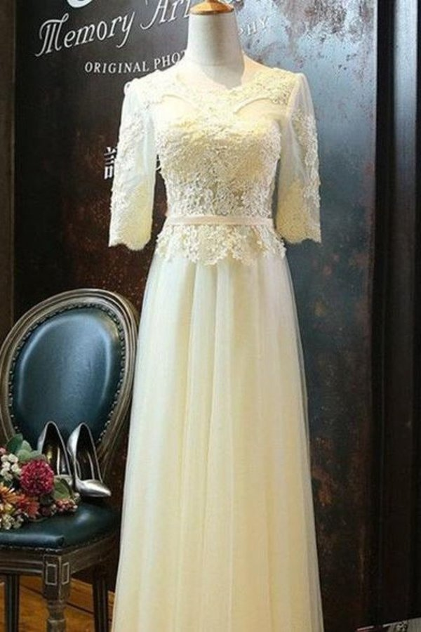 A Line Scoop Tulle Prom Dresses Mid-Length Sleeves PL7AF24M