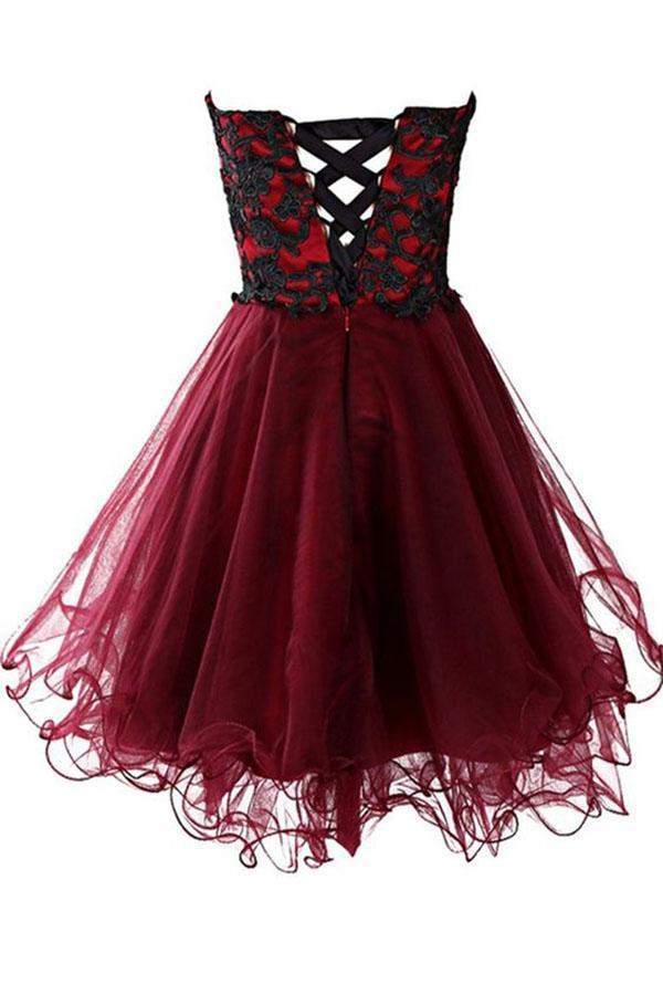 Lovely Cute Appliques Burgundy Sweetheart Organza Lace up Short Homecoming Dress