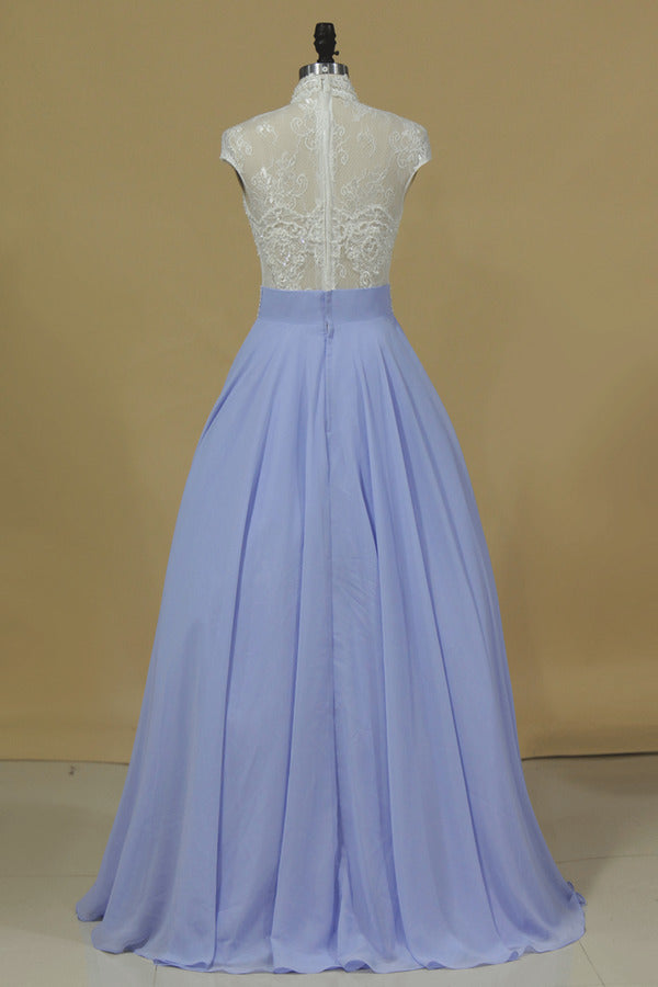 High Neck A Line Prom Dresses Chiffon With Applique And Beading Floor P8L66HRP
