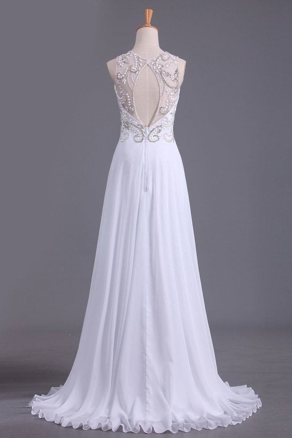A Line Scoop Prom Dresses Beaded Bodice Floor-Length Chiffon Open PGGJEACJ