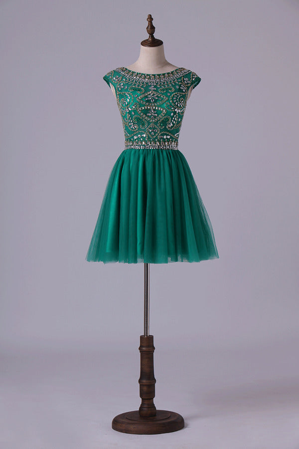Homecoming Dresses A Line Scoop Short Tulle With Shining PR77QGLS