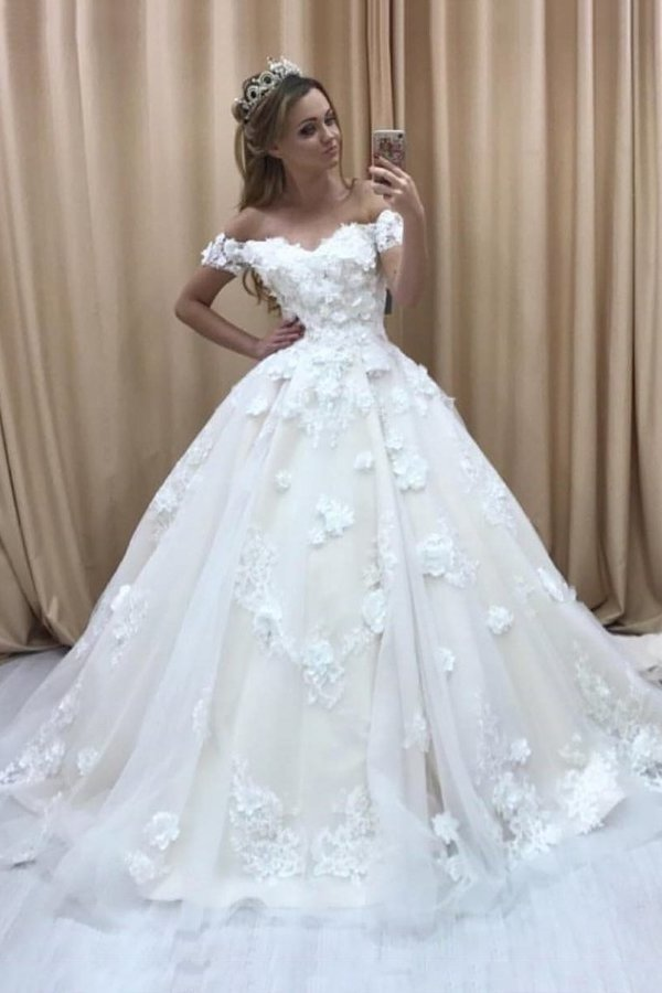 2020 A Line Off The Shoulder Wedding Dresses Tulle With Applique And PZKBF5C2